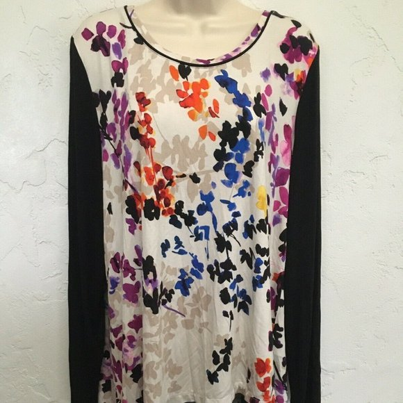 LOGO by Lori Goldstein Tops - Logo Lori Goldstein Long Sleeve Black Multi Floral